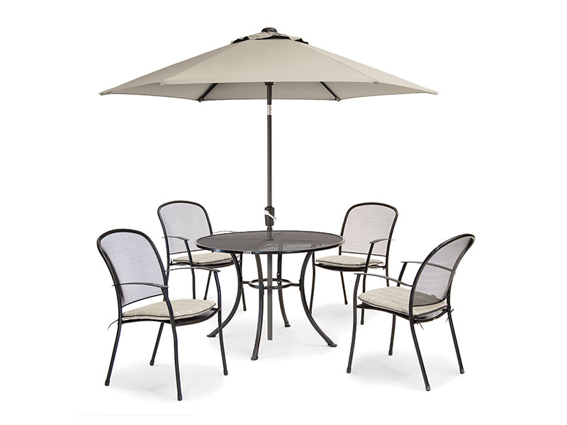 Kettler Caredo 4 Seater Set with Cushions and Parasol - Stone