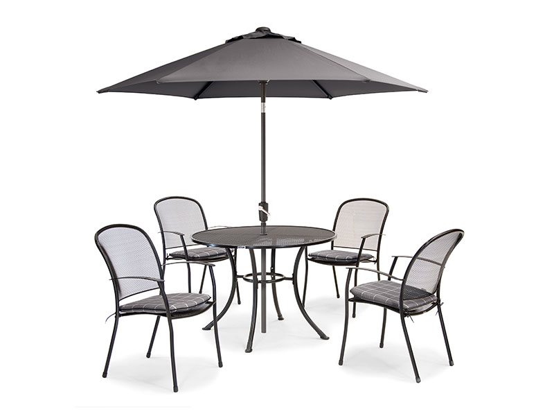 Kettler Caredo 4 Seater Set with Cushions and Parasol - Slate