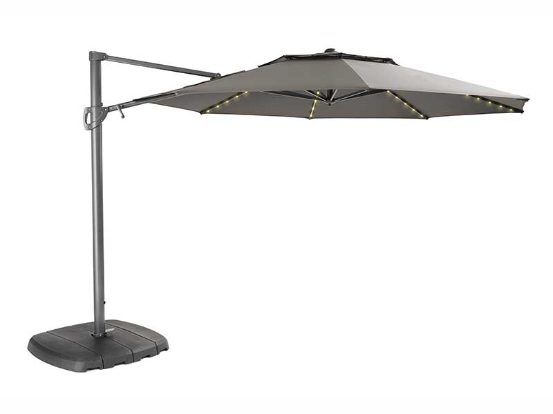 Kettler 3.3m Free Arm Parasol with LED lights and Wireless Speaker - Taupe (Pre-Order)