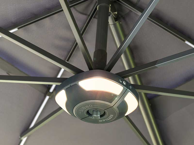 Kettler 3.3m Free Arm Parasol with LED lights and Wireless Speaker - Taupe