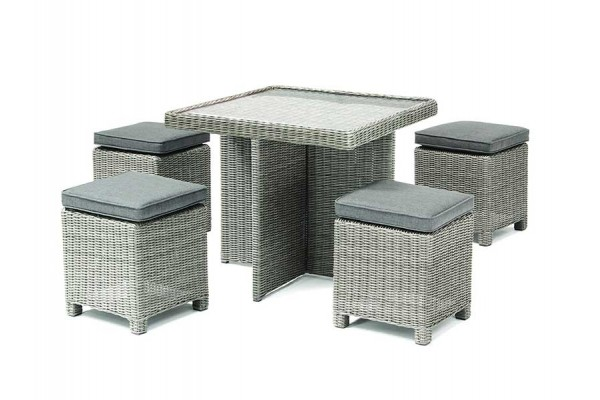 Kettler Palma Cube Set with Glass Top Table - Whitewash