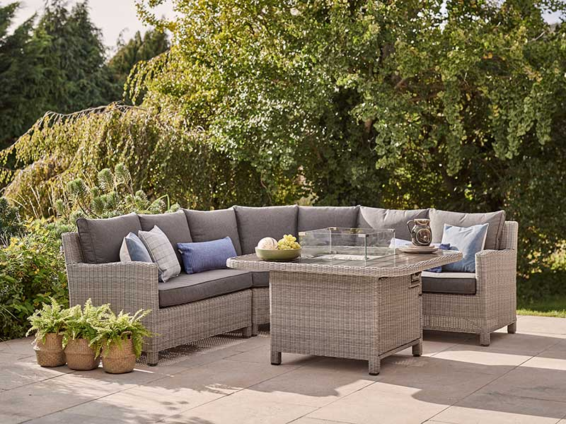 Kettler Palma Grande Corner Set with Fire Pit Table - Whitewash (Pre-Order)