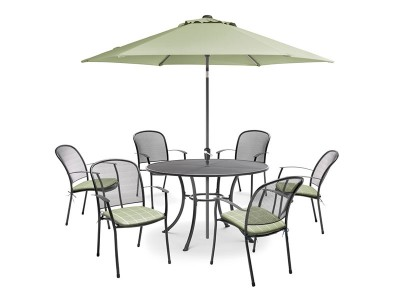 Kettler Caredo 6 Seater Set with Cushions and Parasol - Sage