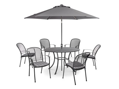 Kettler Caredo 6 Seater Set with Cushions and Parasol - Slate (Pre-Order)