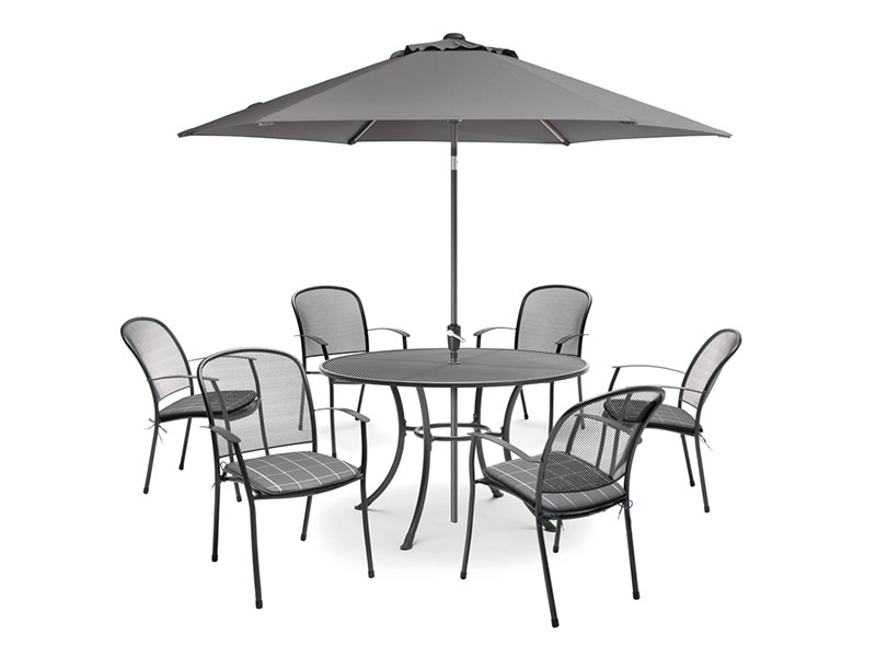 Kettler Caredo 6 Seater Set with Cushions and Parasol - Slate