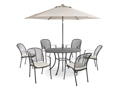 Kettler Caredo 6 Seater Set with Cushions and Parasol - Stone