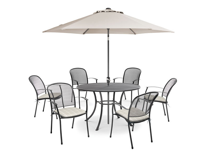 Kettler Caredo 6 Seater Set with Cushions and Parasol - Stone (Pre-Order)