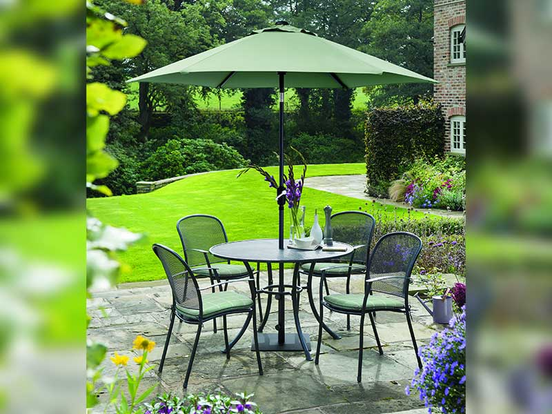 Kettler Caredo 4 Seater Set with Cushions and Parasol - Sage