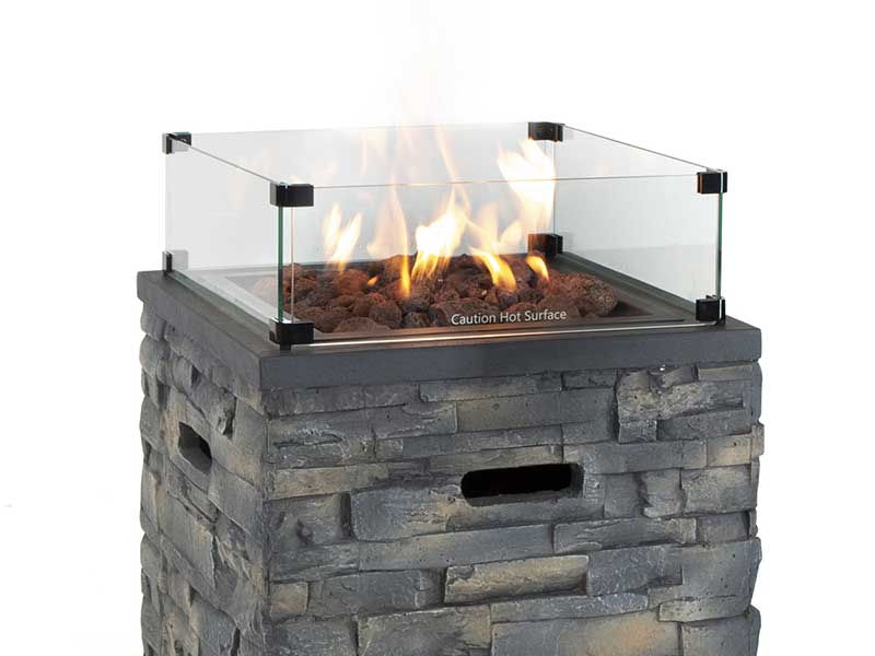 Kalos Stone Fire Pit Square with Cover