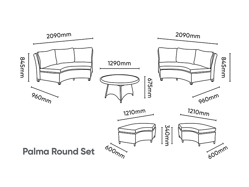 Kettler Palma Round Set - Whitewash (Pre-Order)