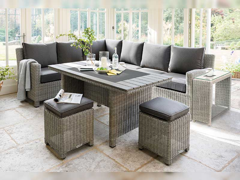 Kettler Palma Corner Set (RH) with Table - Whitewash (Pre-Order 2021)