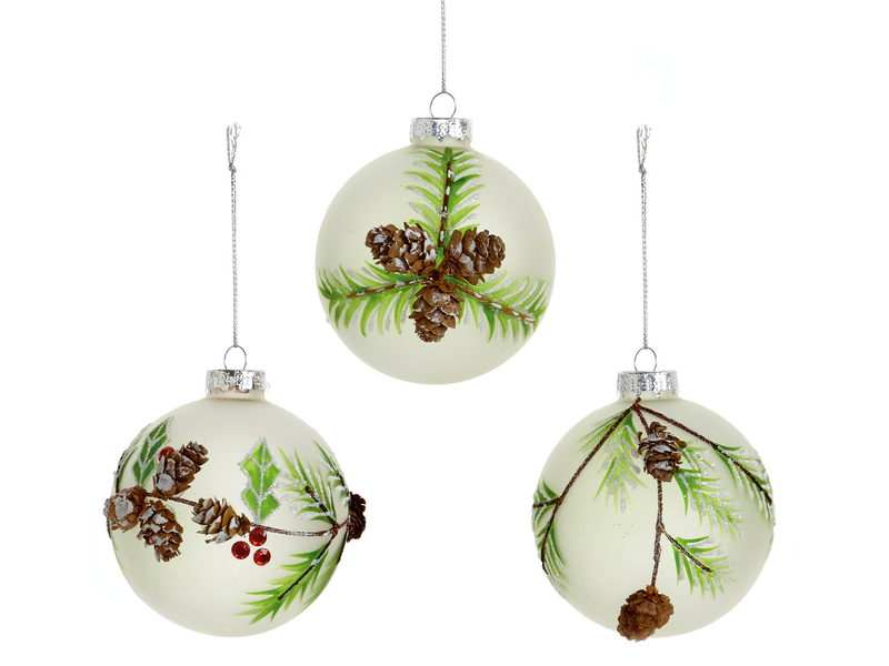 Box of 12 Opaque Pine Luxury 80mm Glass Baubles