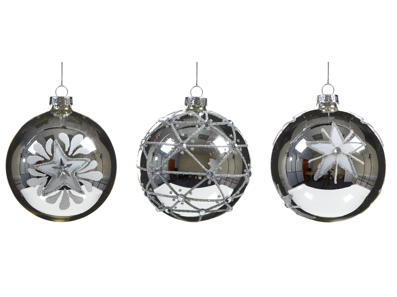 Box of 12 Shiny Silver Star Luxury 80mm Glass Baubles