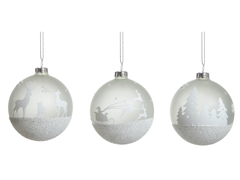 Box of 12 Frosted Snow Scene Luxury 80mm Glass Baubles