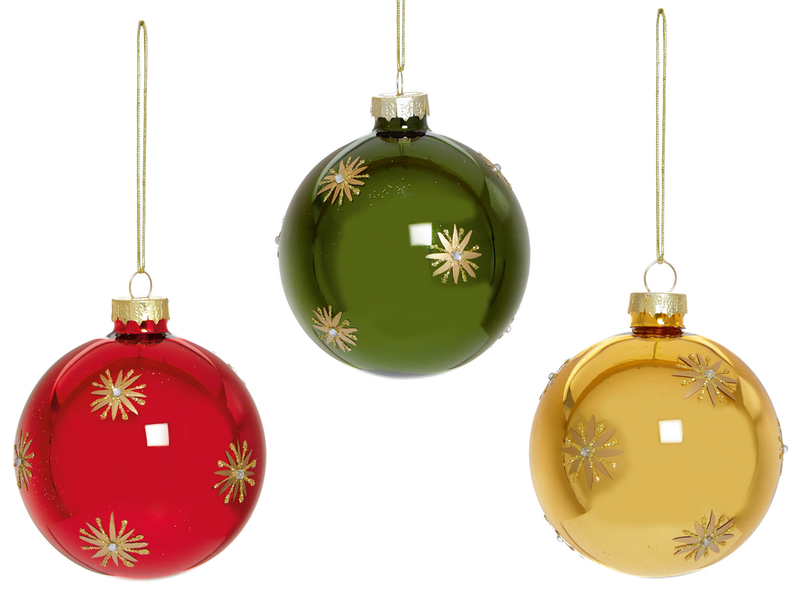 Box of 12 Shiny Traditional Luxury 80mm Glass Baubles