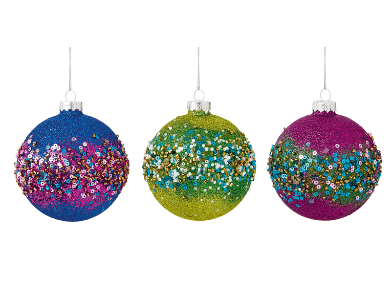 Box of 12 Glitter Band Luxury 80mm Glass Baubles