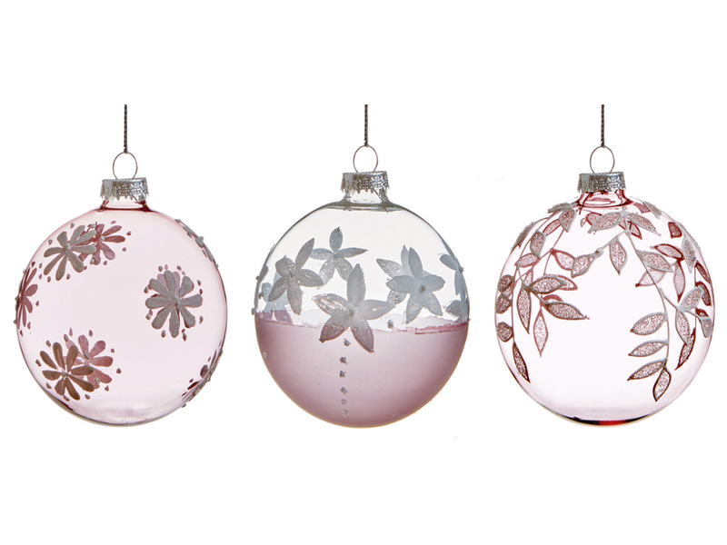 Box of 12 Pink Floral Luxury 80mm Glass Baubles