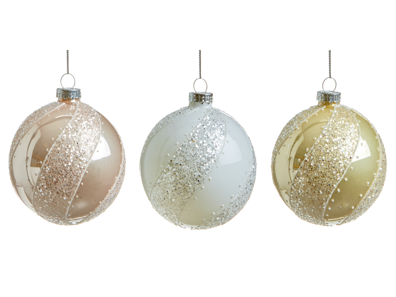 Box of 12 Pearl Cream, White and Pink Luxury 80mm Glass Baubles
