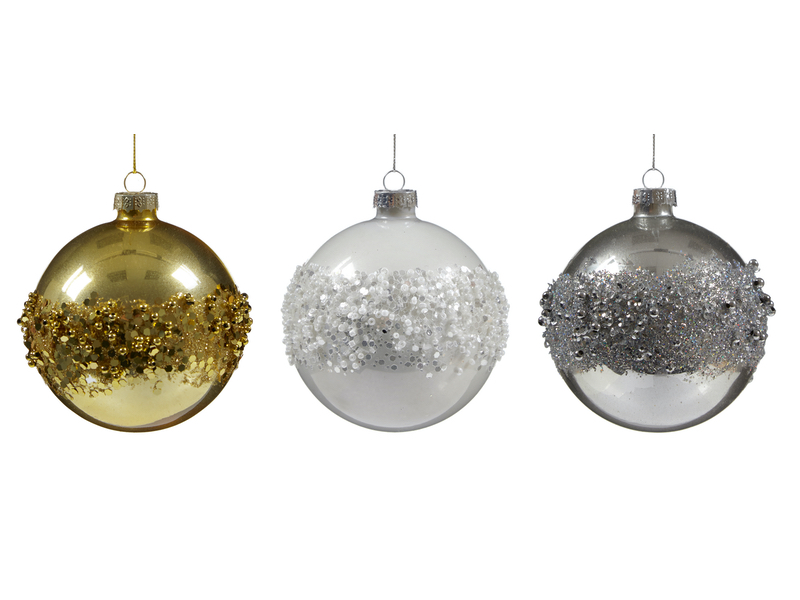 Box of 12 Gold, Silver and White Luxury 80mm Glass Baubles