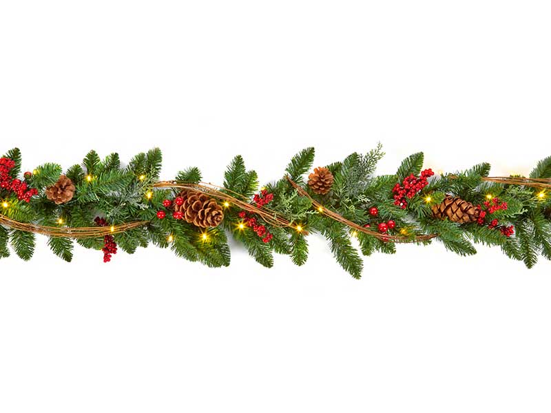 Premier 1.8m Pre-Lit Battery Operated Natural Garland
