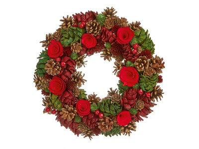 Premier 35cm Natural Red/Green Cone Wreath