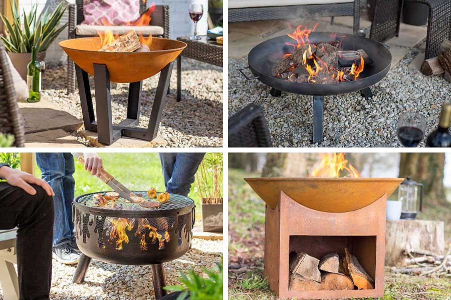 A selection of outdoor firepits available from Oxford Garden Centre